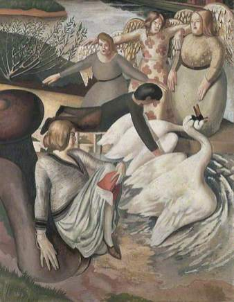 Separating Fighting Swans, c.1932/1933. Oil on canvas, 91.4 x 72.5 cm. Leeds Museums and Galleries