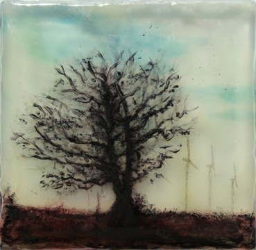 View from a Hill, Turbines, 2015. Acrylic, pigment and resin on glass, 10 x 10 cm