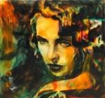Orange, 2015. Acrylic, pigment and resin on glass, 22 x 22 cm