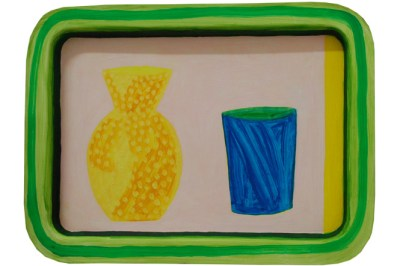 William Crozier, Still Life with Yellow Jug and Blue Vase, oil on metal tray, 28.5 x 36 cm
