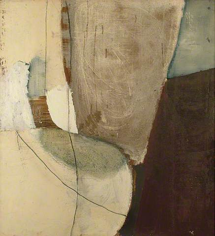 Sandra Blow: Painting 1962. Oil, ash, charcoal & sand on hardboard, 119.5 x 111.5 cm. Towner