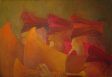 Untitled (Procession of four Bandsman). Oil on canvas, 46 x 66 cm (18 x 26 in.)