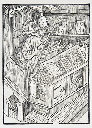 Book fool from Sebastian Brant: Das Narrenschiff (Basel: Johann Bergmann, 1498).
