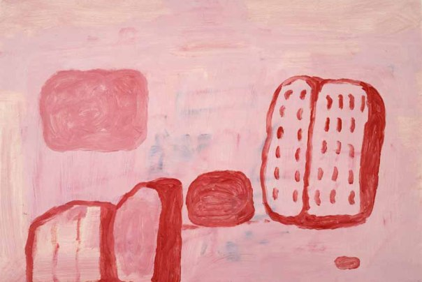 """Untitled"", (book, ball and shoe), 1971. Oil on paper, 50.2 x 70.5 cm., 19 3/4 x 27 3/4 inches. (T004167) ©The Estate of Philip Guston. Courtesy: Timothy Taylor Gallery, London."