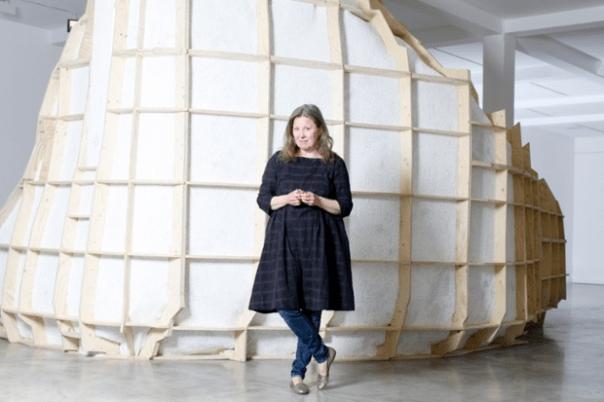 "Observer: ""Sigurdardóttir standing outside her installation, Supra Terram. Photograph: Katherine Anne Rose"""
