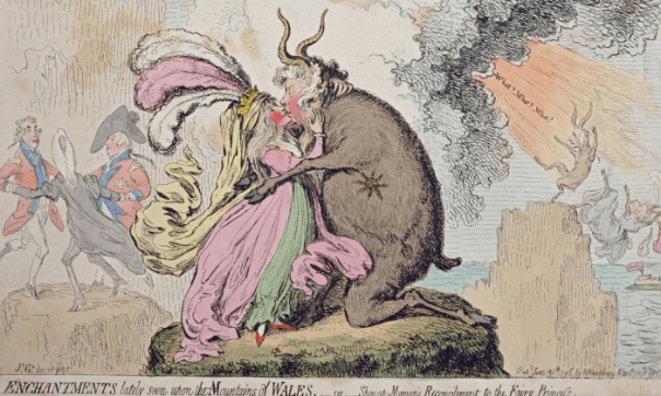 Enchantments lately seen upon the Mountain of Wales, or Shon-ap-Morgan's Reconcilement to the Fairy Princess (1796). Hand-coloured etching. Courtesy of the Warden and Scholars of New College, Oxford/Bridgeman