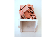 Untitled No.2, 2013, ceramic + timber shelf, 20 x 10 x 9 cm