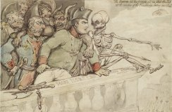 Thomas Rowlandson: The Corsican, his two friends and his blood hounds. Pen and brown ink and watercolour over indications in graphite