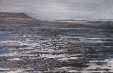 """This is where the northern wind can howl day or night."" Icelandic fields of lava. Oil on canvas"