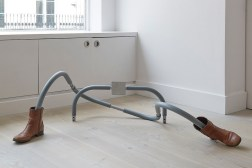 Do I look alright?, 2015, retrieved foam-coated metal 'abs' frame, boots, 38 x 122 x 61 cm