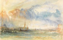 Venice, Storm at Sunset. Turner, Joseph Mallord William (British, 1775-1851). Watercolour and bodycolour with pen and red ink and scratching out on paper, 1840-1842.