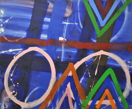 Merlin, 1987, acrylic on canvas, 60 x 72 in / 152.4 x 183 cm