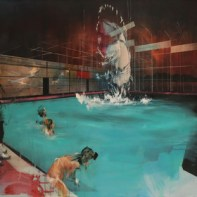 A Monster / Plane Is Raised From An Indoor Pool, 2015, 91 cm x 127 cm. Mixed media on canvas