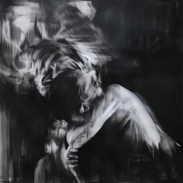 """Cabaret Aftermath. Charcoal on paper, 36"""" x 36"""" (91cm x 91cm), 2015"""
