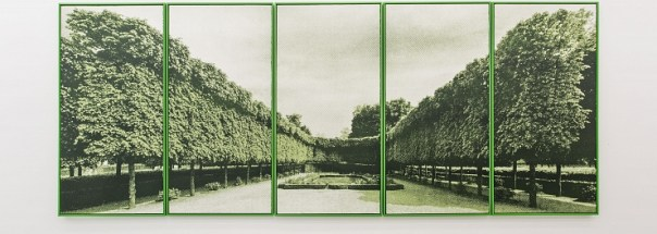Hedge Theatre, 2013, etching and silkscreen on paper, five panels, 152x76cm each