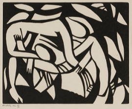 Henri Gaudier-Brzeska, Wrestlers, 1913, linocut. Wakefield Council Permanent Art Collection.