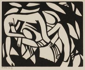 Henri Gaudier-Brzeska, Wrestlers, 1913, linocut. Wakefield Council Permanent Art Collection.