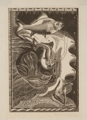 Gertrude Hermes, Fish, 1932, wood engraving. Wakefield Council Permanent Art Collection.