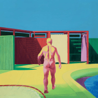 BACK VIEW WALKING FIGURE, 1968, oil on canvas, 213 × 213 cm