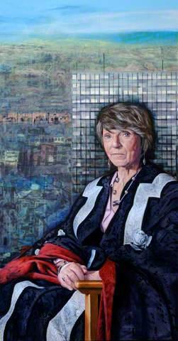 Professor Diana Green, CBE, Vice-Chancellor of Sheffield Hallam University (1998–2007) (triptych, right wing), c.2006. Oil on canvas, 165 x 80 cm. Sheffield Hallam University