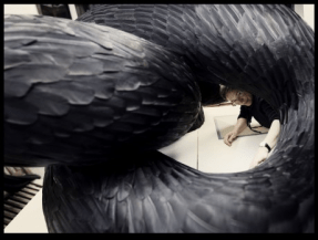 Kate MccGwire: studio shot with Gryre, mixed media with crow feathers, 2012. Photo: Tessa Angus