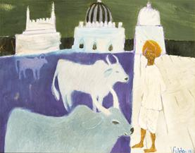Indian Landscape with Three Cattle and Herdsmen, 1968