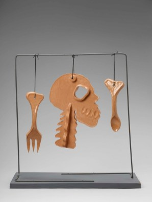 Orange Naked, c. 1986. Glazed ceramics and wire on painted wood, 52 x 20 x 50cm. Andrew Rinkhy/ Kogelnik Foundation Vienna/ New York