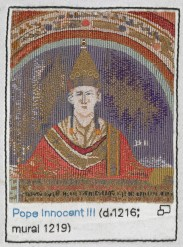 Guardian: Pope Innocent III stitched by Anthea Godfrey of the Embroiderers' Guild Photograph: British Library