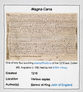 A detail of only one of four surviving fragments of the 1215 Magna Carta, stitched by Pam Keeling of the Embroiderers' Guild (East Midland Region). Photography: British Library
