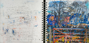 Field gate and transcription of 'At middle-field gate in February' by Thomas Hardy, 2000s, pastel, acrylic and charcoal