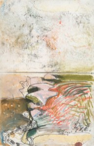 One of a sequence drawn at Corra Linn top fall, Falls of Clyde, early 1980s, pastel