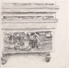 Desk, rue de la Chaise, 2005, graphite, pencil and crayon on paper, 21 x 29.5 cm