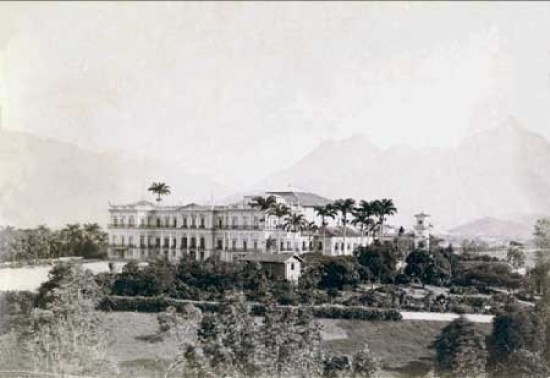 """Palace of São Cristovão (""""the old imperial palace""""), c. 1893/4, photographed by Juan Gutierrez"""