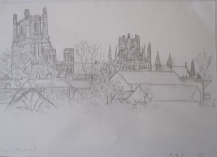 Ely Cathedral (from carpark), April 2008, pencil on A3 paper