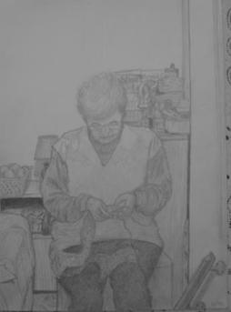 Grandma knitting, 1995, pencil on paper
