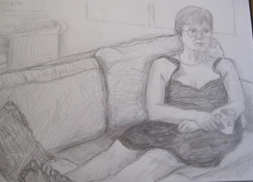 Helen watching TV, August 1996, pencil on A3 paper,