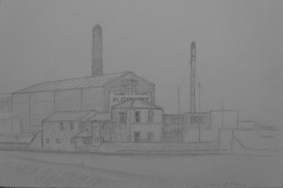 Weir at Otley, March 2005, pencil on paper