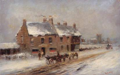 The Road to Edgware, Winter, Robert Finlay McIntyre (c.1846–1906), 1881