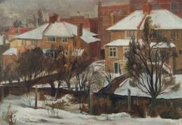Snow at Muswell Hiill, Peter E. Clark (active 1957–1960), 1957
