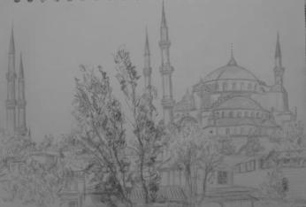 Blue Mosque, May 2009, pencil on paper