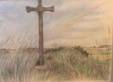 Above Alnmouth Salt Flats, pencil and crayons on paper, August 2006