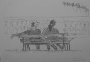 Young couple on bench, São Luis, , February 2009, pencil on paper