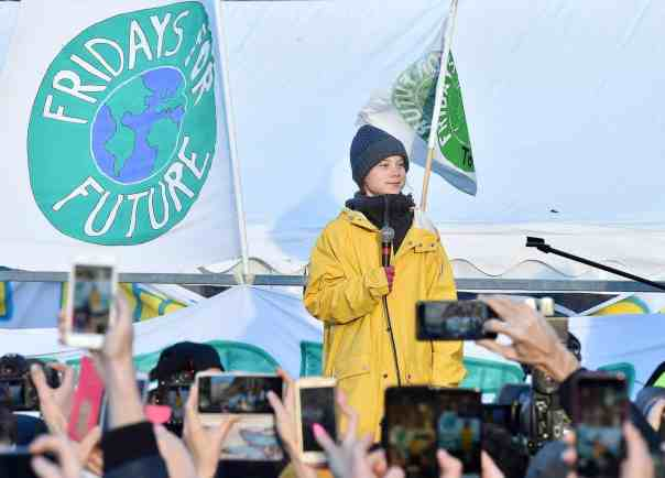 Swedish activist Greta Thunberg leads a Fridays For Future rally in Turin, December 2019. Photograph: Alessandro Di Marco/EPA