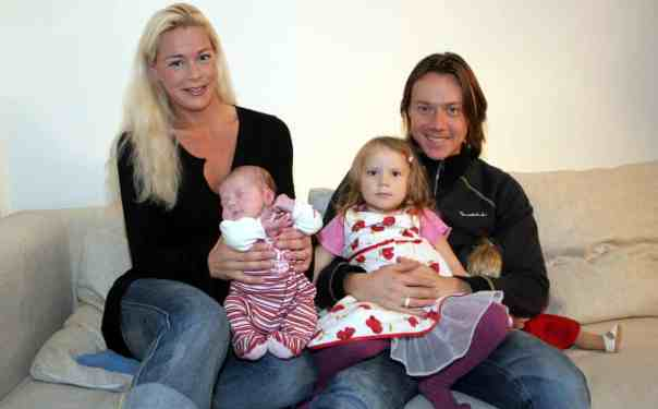 Malena Ernman and Svante Thunberg with their daughters, newborn Beata and Greta aged three, 2005. Photograph: Lizzie Larsson/TT/PA Images