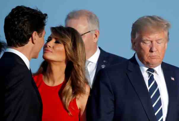 Melania Trump kisses Canada's prime minister, Justin Trudeau, at the G7 summit in Biarritz last August. Photograph: Carlos Barría/Reuters