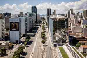 Empty streets in Rio Centro, where the business district is located. Photograph: Nicoló Lanfranchi/The Guardian