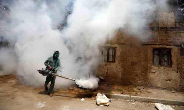 Fumigation in Sana'a, Yemen. Photograph: Yahya Arhab/EPA