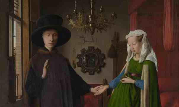 Jan van Eyck's Arnolfini Portrait is one of many classic works to be recreated by resourceful people in lockdown. Photograph: © The National Gallery, London
