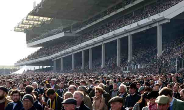 13 March 2020: day four of Cheltenham festival, 10 days before lockdown began in the UK. Photograph: Andrew Matthews/PA