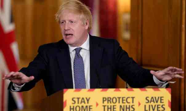 Boris Johnson addressing the media on Thursday evening. 'The prime minister wants no narrative to take hold that could trigger a backlash on the home front that his administration cannot contain.' Photograph: Andrew Parsons/10 Downing Street/Crown Copyright/PA
